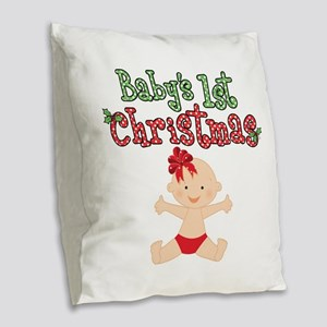 1st Christmas Baby Girl Burlap Throw Pillow
