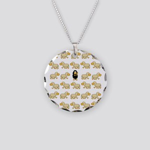 A Sheep with Attitude Necklace Circle Charm
