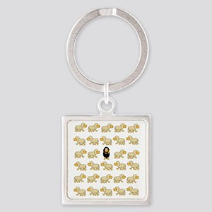 A Sheep with Attitude Square Keychain