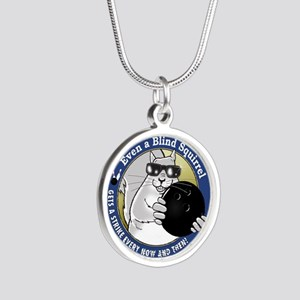 Bowling Blind Squirrel Silver Round Necklace