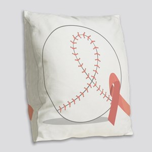 Baseball for Breast Cancer Burlap Throw Pillow