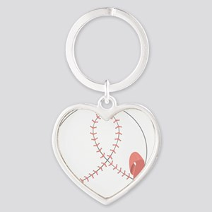 Baseball for Breast Cancer Heart Keychain