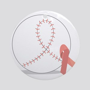 Baseball for Breast Cancer Round Ornament