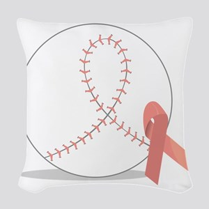 Baseball for Breast Cancer Woven Throw Pillow
