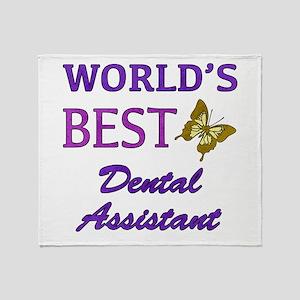Worlds Best Dental Assistant (Butterfly) Throw Bla