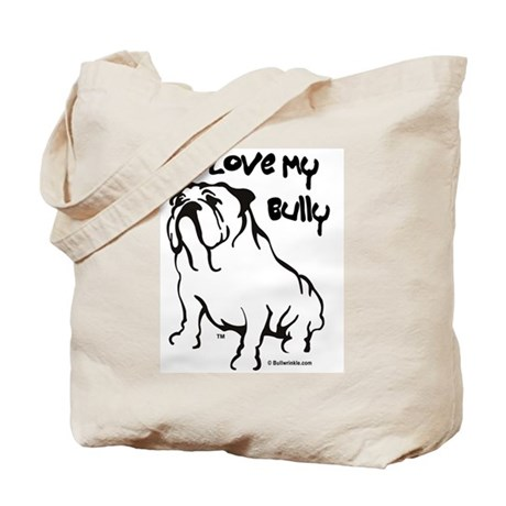 """I Love My Bully"" Black Tote Bag"