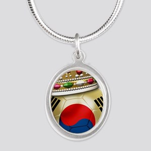 Korea Republic World Cup 6 Silver Oval Necklace