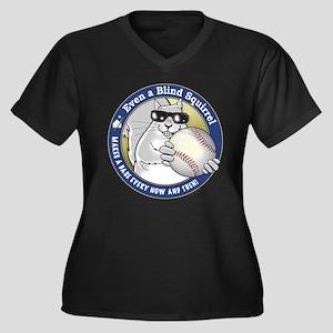 Baseball Blind Squirrel Women's Plus Size V-Neck D