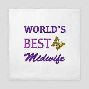 Worlds Best Midwife (Butterfly) Queen Duvet