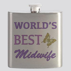 Worlds Best Midwife (Butterfly) Flask