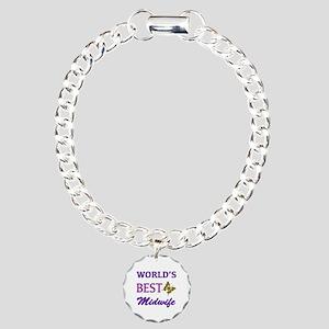 Worlds Best Midwife (Butterfly) Charm Bracelet, On