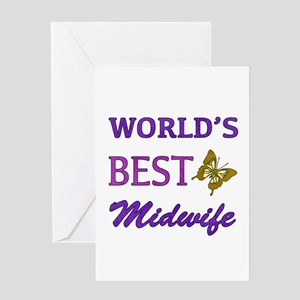 Worlds Best Midwife (Butterfly) Greeting Card