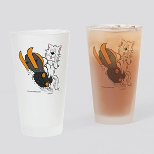 Snowmobile Cat in Color Orange Drinking Glass