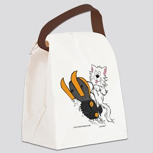 Snowmobile Cat in Color Orange Canvas Lunch Bag