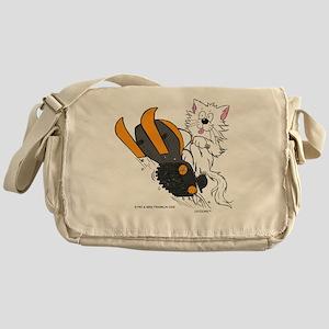 Snowmobile Cat in Color Orange Messenger Bag