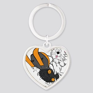 Snowmobile Cat in Color Orange Heart Keychain