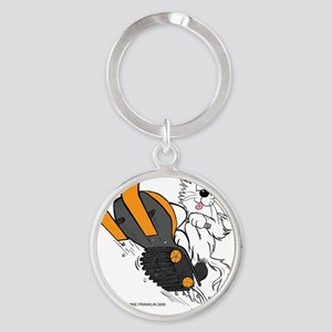 Snowmobile Cat in Color Orange Round Keychain