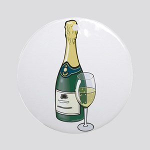 Champagne Bottle Ornament (Round)