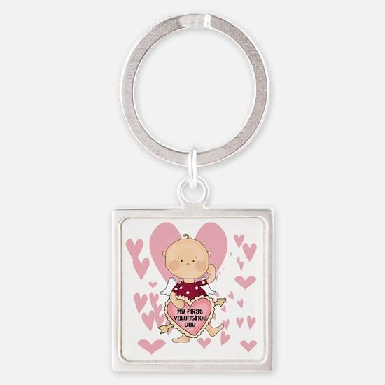 HEARTSFIRSTVALDAY Square Keychain