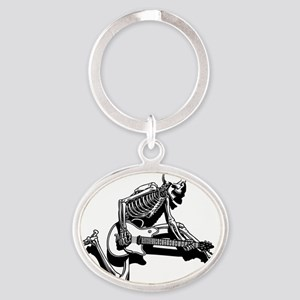 sk-guit-jump-T Oval Keychain