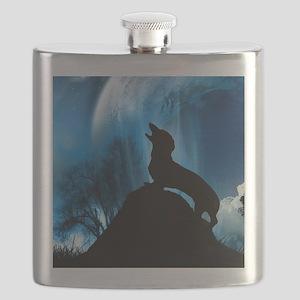moon light dog tiger16x16 Flask