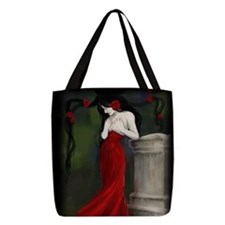 Red Roses In The Cemetery Polyester Tote Bag