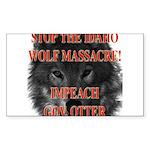 Stop the wolf massacre Rectangle Sticker
