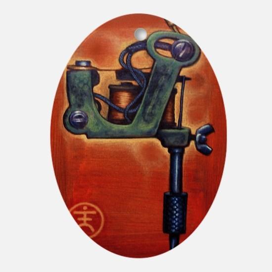 Red Machine Oval Ornament
