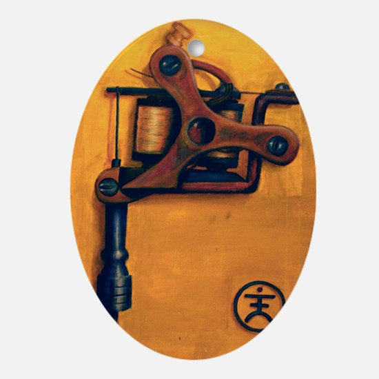 Yellow Machine Oval Ornament
