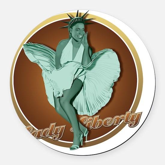 New York Lady Round Car Magnet