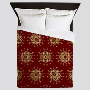 Red & Gold Pattern Queen Duvet