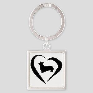 Pembroke Heart Square Keychain