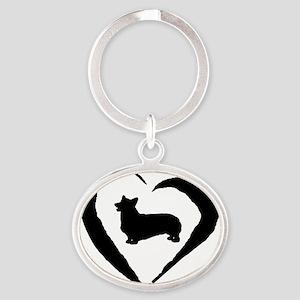Pembroke Heart Oval Keychain