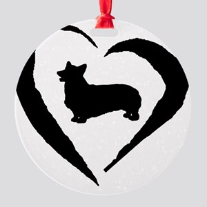 Pembroke Heart Round Ornament