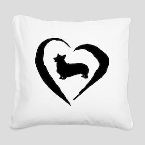 Pembroke Heart Square Canvas Pillow