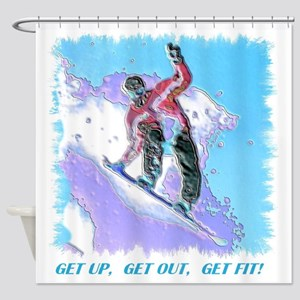 SNOWBOARDER 7 X 7 Shower Curtain