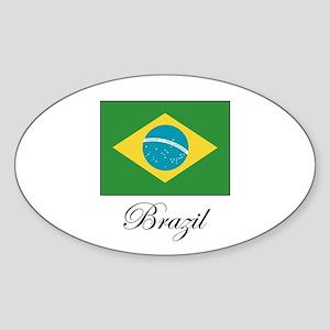 Brazil - Flag Oval Sticker