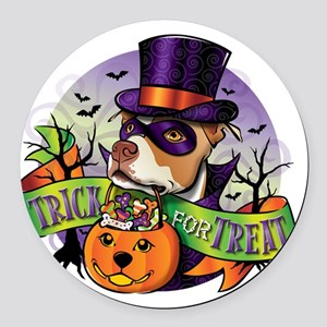 NEW_TRICK_FOR_TREAT Round Car Magnet
