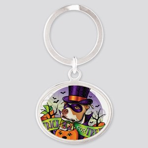 NEW_TRICK_FOR_TREAT Oval Keychain
