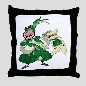 BullFrogFrontBlack Throw Pillow