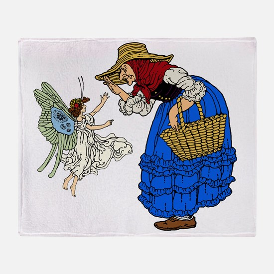 Old woman with fairy Throw Blanket