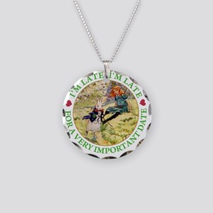 alice  RABBIT im late_green  Necklace Circle Charm