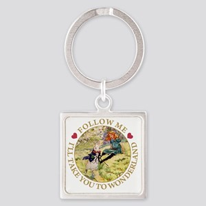 ALICE_follow me to wonderland_gold Square Keychain