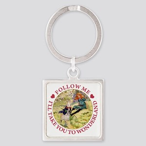 ALICE_follow me to wonderland_red  Square Keychain