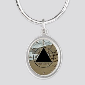 AAClock Silver Oval Necklace