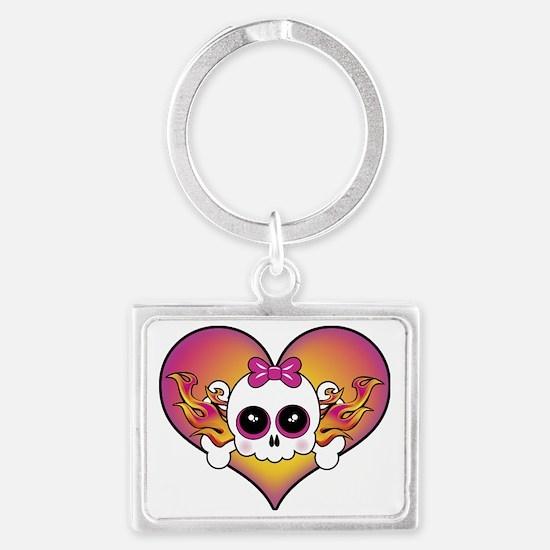 Cute Skull Heart Landscape Keychain