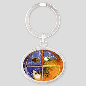 Medicine Wheel Oval Keychain