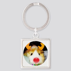 Guinea Pig Christmas Square Keychain