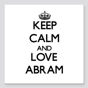 "Keep Calm and Love Abram Square Car Magnet 3"" x 3"""