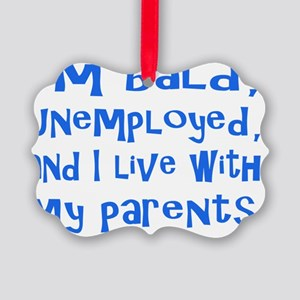 Im bald, unemployed, and I live w Picture Ornament
